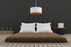 Modern bedroom interior loft in 3D render image. Modern bedroom interior loft with wood and black wall in 3D render image Stock Photo