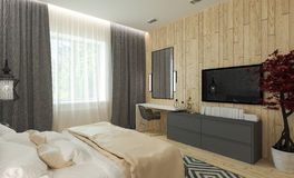 Modern bedroom interior Stock Images