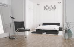 Modern bedroom interior with recessed bed Stock Image