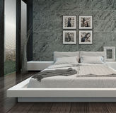 Modern bedroom interior with stone wall Royalty Free Stock Photos
