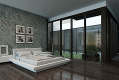 Modern bedroom interior with stone wall Stock Photography