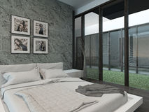 Modern bedroom interior with stone wall Royalty Free Stock Photo