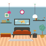 Modern bedroom interior. Vector for your ideas Stock Images
