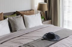 Modern bedroom with king size bed Royalty Free Stock Images