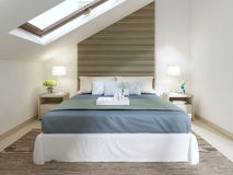 Modern bedroom with large bed with turquoise blanket. Stock Photos