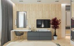 Modern bedroom loft interior Stock Photos