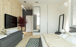 Modern bedroom loft interior Royalty Free Stock Image