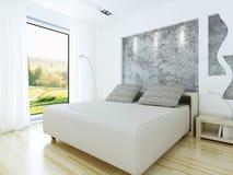 Modern bedroom in loft style. 3d rendering stock illustration