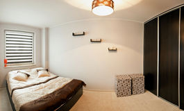 Bedroom minimalistic style Stock Image
