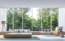 Modern bedroom with nature view 3d rendering Image Royalty Free Stock Image