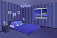 Modern bedroom night blue black bed pillows lamps window illustration Stock Photography