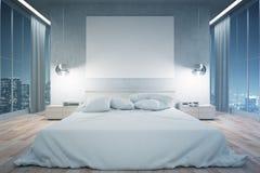 Modern bedroom at night Royalty Free Stock Photo