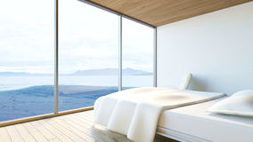 Modern bedroom ocean view / 3d render image. Modern minimal bedroom with white bed, armchair and ocean view Stock Images