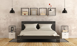 Modern bedroom with old wall Royalty Free Stock Photos