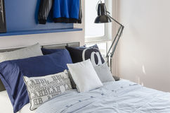 Modern bedroom style with black modern lamp Royalty Free Stock Photography