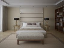 Modern bedroom with a stylish bed. Royalty Free Stock Images