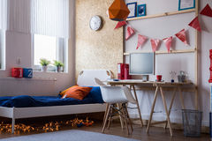 Modern bedroom for teen boy. Or girl Royalty Free Stock Image