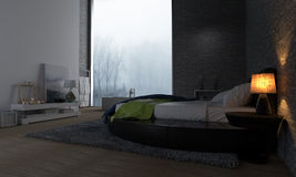 Modern Bedroom with View of Foggy Forest Stock Photography