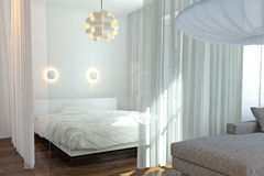 Modern bedroom with wall of glass Stock Images