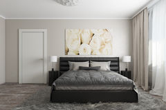 Modern bedroom with white roses Stock Photo