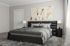 Modern bedroom with white roses. 3D rendering of modern bedroom with white roses royalty free illustration