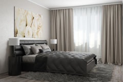Modern bedroom with white roses Royalty Free Stock Photos