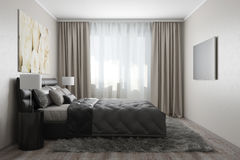 Modern bedroom with white roses Stock Photos
