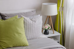 Modern bedroom with wood lamp Royalty Free Stock Images