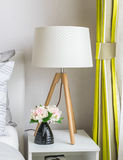 Modern bedroom with wood lamp Stock Photo