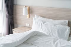 modern bedroom with wooden bed royalty free stock photo