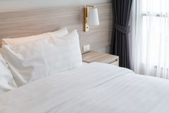 modern bedroom with wooden bed royalty free stock photos