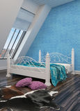 Modern bedroom with a wrought iron bed Royalty Free Stock Photography