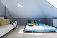 Modern bedroom for young musician royalty free stock image