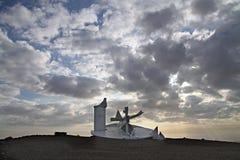 Modern beeldhouwwerk in de Negev-woestijn, Israël Royalty-vrije Stock Foto's