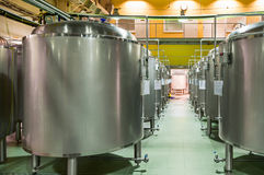 Modern Beer Factory. Rows of steel tanks for the storage beer. Modern Beer Factory. Rows of steel tanks for the storage and fermentation of beer Royalty Free Stock Image
