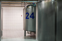 Modern Beer Factory. Small steel tanks for fermentation of beer. Modern Beer Factory. Small steel tanks for storage and fermentation of beer Royalty Free Stock Images