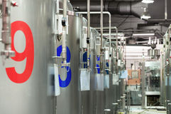 Modern Beer Factory. Steel tanks for beer fermentation. And storage Stock Image