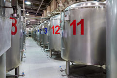 Modern Beer Factory. Steel tanks for beer fermentation. And storage Royalty Free Stock Photos
