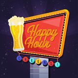 Modern Beer Happy Hour Card Illustration. Suitable For Social Media, Poster, Banner, Festival, Event, And Other Beer Related Occasion Royalty Free Stock Photo