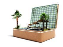 Modern begreppsloppresväska med strandsemester i sommar 3d att framföra på vit bakgrund med skugga royaltyfri illustrationer