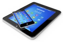 Modern begreppstabellPC och smartphone Royaltyfri Foto