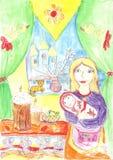 Modern behandla som ett barn, påsken Arkivbild