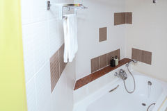 Modern beige bathroom interior - view from above royalty free stock photography