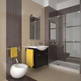 Modern beige bathroom with wood furniture Stock Photos