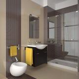 Modern beige bathroom with wood furniture. Contemporary bathroom with beige tiles and wood furniture Stock Photos