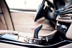 Modern beige interior of new car, close-up details Stock Photos