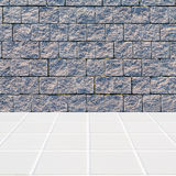 Modern beige mosaic with the wall made of grey stones Stock Photography