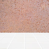 Modern beige mosaic with the wall made of rusty structure Stock Images