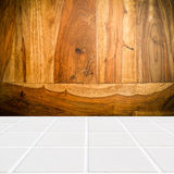Modern beige mosaic with the wall made of sheesham wood Stock Image