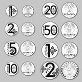 Modern Belarusissian coins. Vector reverse and obverse. Belarussian money. Kopeyka and rouble. Royalty Free Stock Photo